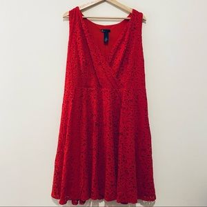 Lane Bryant red lace fit and flare dress